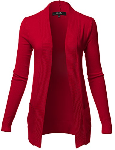 Plus Size Solid Color Rib Banded Long Sleeve Cardigans, 024-dark Red, US 2XL