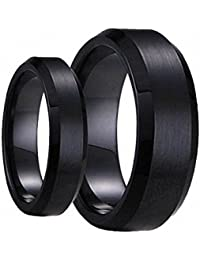 swinger black ring set his hers matching 6mm 8mm black brushed center with polished edge tungsten carbide wedding band set available sizes 6mm 5 to 15 - Tungsten Wedding Ring Sets