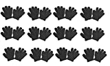 OPT Brand. Kids Magic Gloves Children Knit Gloves Wholesale 12 Pairs (1 to 5 years) (Black)