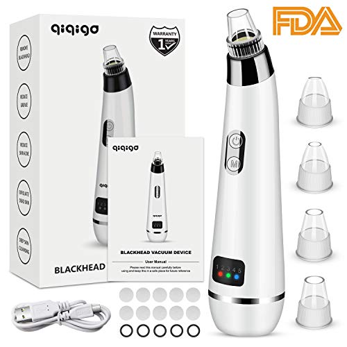 QIQIGO Blackhead Remover Pore Vacuum Upgraded 5 in 1 Blackhead Cleaning Tool Device Comedo Removal Suction Beauty Device Electric Blackhead Vacuum Cleaner Device with LED Display for Men and Women