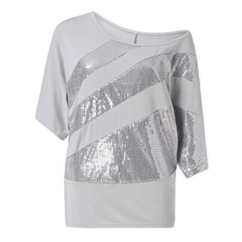 (Sunhusing Women's Sexy Round Neck Sequins Applique Short Sleeve T-Shirt Cold Shoulder Top)