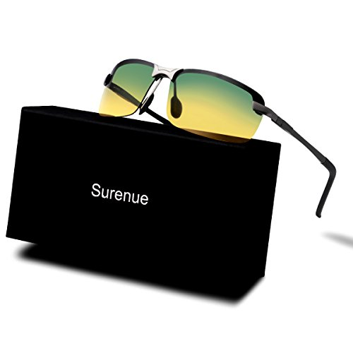 Men's Day and Night Vision Glasses Surenue HD Polarized Anti-Glare Rain Day Safety for Driving