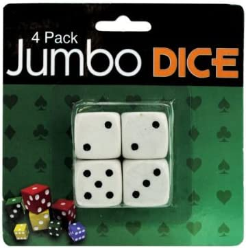 Jumbo dice, pack of 4-Package Quantity,96 by bulk buys: Amazon.es: Juguetes y juegos
