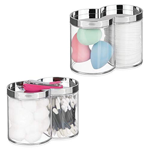 room Vanity Countertop Canister Jar with Recessed Storage Lid - Stackable, Divided, 2 Compartment Organizer for Cotton Balls, Swabs, Blenders, Bath Salts - 2 Pack - Clear/Chrome ()