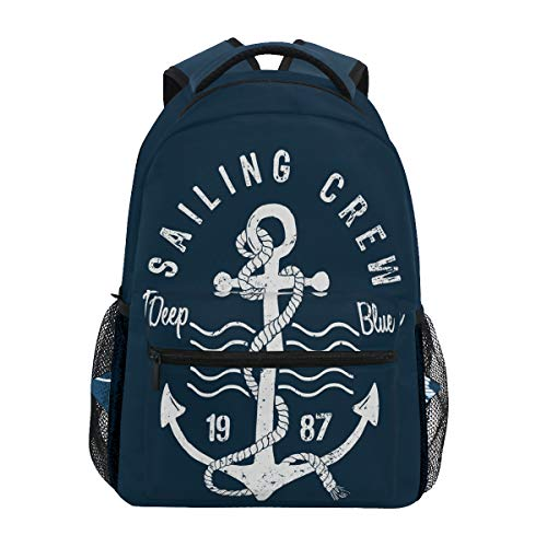 Linomo Nautical Anchor Backpack Daypack Camping Hiking Travel Bookbag School Shoulder Bag for Kids Boy Girl]()