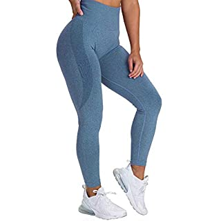 NanaDay Yoga High Waisted Pants for Women Fitness Legging Gym Workout Tights Seamless Skinny Pants (BE-S) Blue