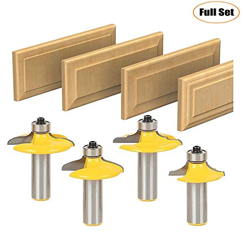 LETBUY Door&Drawer Front Edging Router Bit Set 1/2-Inch Shank 4 PCS, Woodworking Milling Cutter Tools, Carbide Cutter CNC Router Grooving Mill Tool