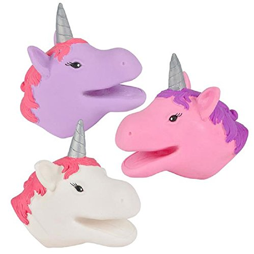 Novelty Treasures Enchanted Set of 3 Unicorn Hand Puppets - Party Favor Supplies