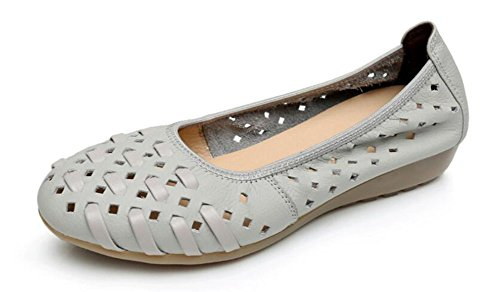 CHFSO Womens Breathable Leather Round Toe Low Top Hollow Out Low Heel Flats Gray EcWI7ckx