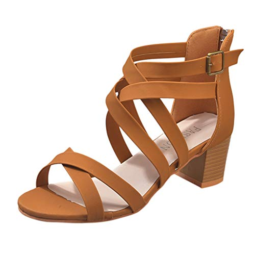 - 〓COOlCCI〓 Women's Open Toe Crisscross Strappy Chunky Block Heel Sandal Thong Lattice Gladiator Flat Sandal Brown