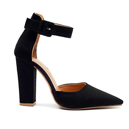 Grande des Sandals Femmes Hauts Taille Mouth Black à des Chaussures Talons avec Shallow de Pointu épais Chaussures xie Suede Fashion 0UBvqwt