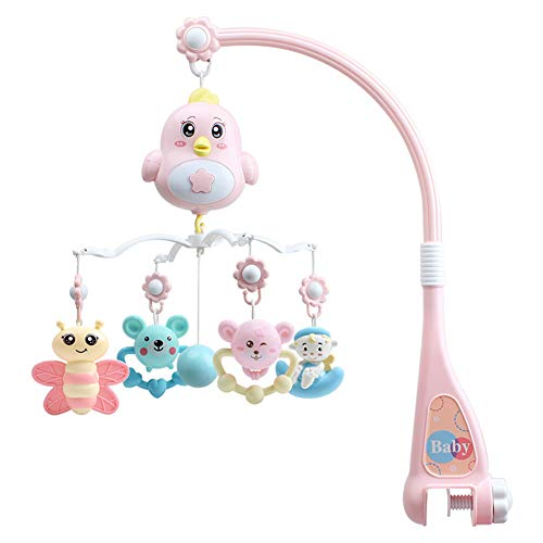 Doolland Baby Musical Crib Mobile,Baby Crib Decor Newborn Gift Bassinet Nursery Room Mobile Hanging Toys Musical Mobile with Timing Function Projector Nursery Decor for Babies (Pink,23x19x7inch)