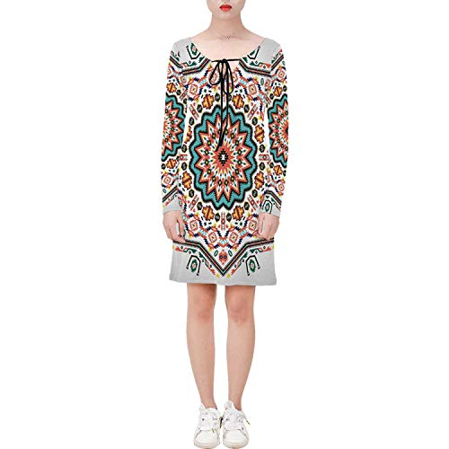 Tribal Stylish Long Sleeve String Tie Dress Abstract Aztec Style Kaleidoscope T,for Women