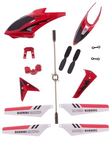 Red Full Replacement Parts Set for Syma S107 RC Helicopter,Syma Head Cover S107G-01,Syma Main Blades S107G-02,Syma Tail Decorations S107G-03,Syma Connect Buckle x2 S107g-04,Syma Balance Bar S107G-05 (Helicopter Set Rc Part)