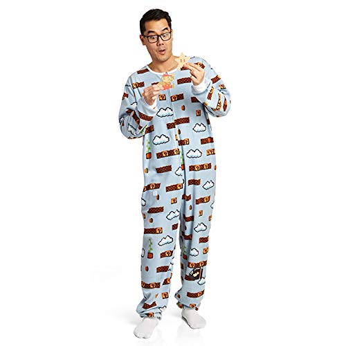 Super Mario Men's Faux Fur Licensed Sleepwear Adult Costume Union Suit Pajama (L/XL, Cloud Level Blue)]()