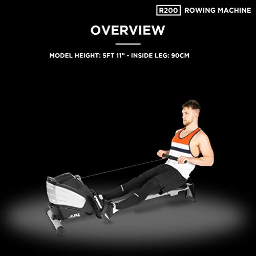 JLL R200 Home Rowing Machine, 2019 Model Rowing Machine Fitness Cardio Workout with Adjustable Resistance, Advanced Driving Belt System, 12-Month Warranty, Black and Silver Colour