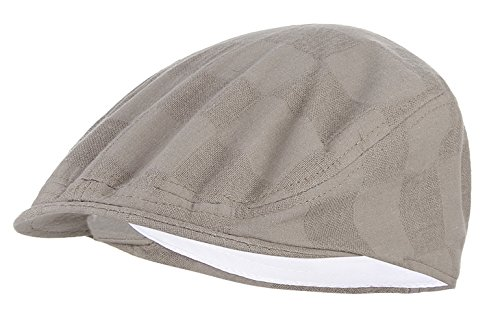 GEMVIE アイビーキャップ ハンチング帽 無地 格子 レディース メンズ 紳士 帽子 ゴルフ 鳥打帽 カジュアル プレゼント コットン 通気性 軽量 春夏 アウトドア 日除け ライトグレー