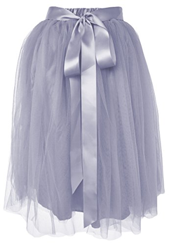 Dancina Women's Knee Length Tutu A Line Layered Tulle Skirt Regular (Size 2-18) Grey -