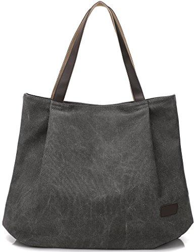 DCCN Beach Tote Canvas Shoulder Bag(Grey)