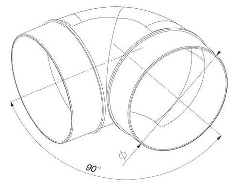 Plastique Syst/ème /à tube circulaire tuyau de ventilation en/PVC /Ø 100 support de pi/èces de r/éduction T/é. Bogen 90/°