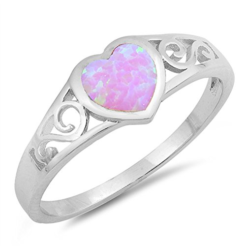 Pink Simulated Opal Heart Promise Filigree Swirl Ring Sterling Silver Band Size 10