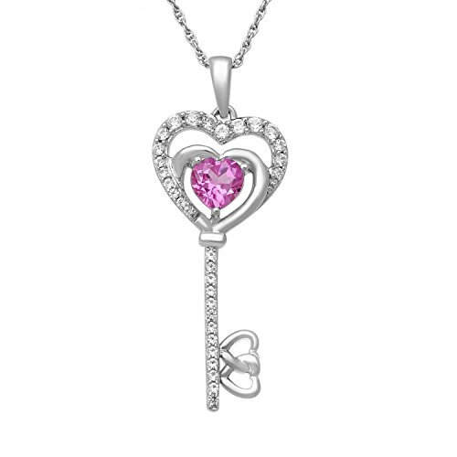 Jewelili Sterling Silver 5mm Heart Shaped Created Pink Sapphire and Round Created White Sapphire Key Pendant, 18