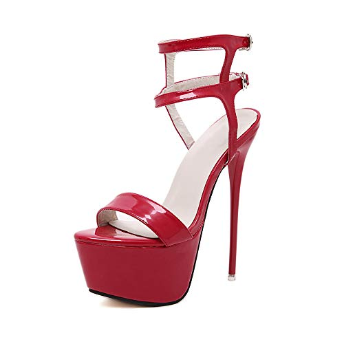 (Women's Open Toe Platform Sky High Stiletto Heel Ankle Strap Buckle Dress Party Heeled Sandals Red Tag 38 - US 7)