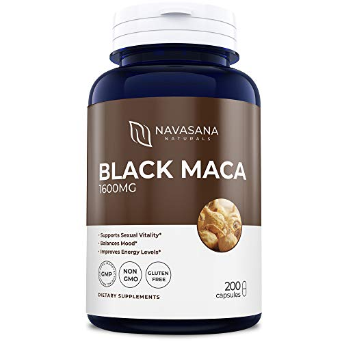 Black Maca Root 1600 from Peru: 200 Day Supply: No Gluten Non GMO: Maca Root Extract: Supports Reproductive Health