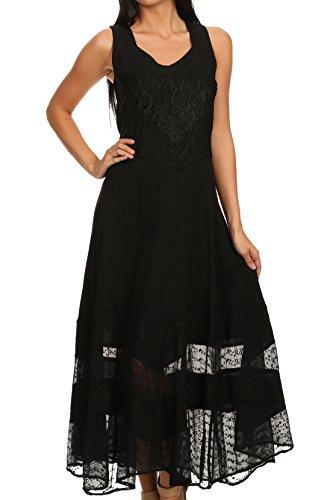 (Sakkas 15225 - Zendaya Stonewashed Rayon Embroidered Floral Vine Sleeveless V-Neck Dress - Black - L/XL)