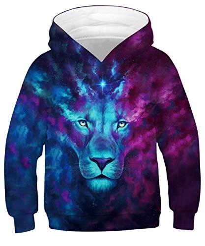 GLUDEAR Youth Girls Boys 3D Galaxy Printed Pockets Sweatshirts Jacket Pullover Hoodies,Blue Lion,11-13 -
