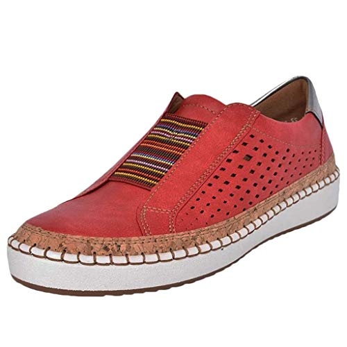 (Women Flats Sneakers, Limsea 2019 New Leather Casual Shoes Muffin Shoes Sneakers (9, Red1))