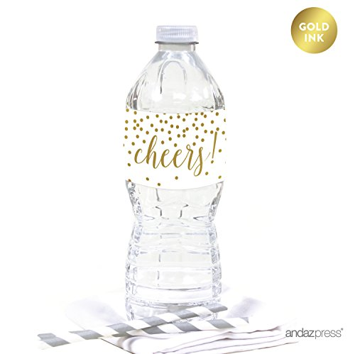 Andaz Press Metallic Gold Confetti Polka Dots Party Collection, Water Bottle Labels Stickers, Cheers!, 20-Pack