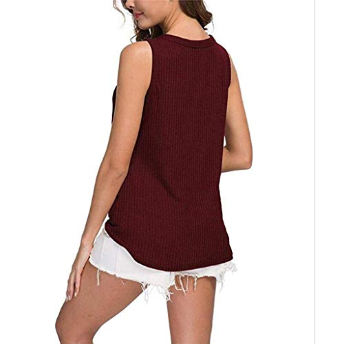 Womens Waffle Knit Tunic Blouse Tie Knot Henley Tops Loose Fitting Bat Wing Plain Shirts (Wine, XXL) by Tanlo (Image #6)