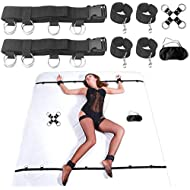 Bed Restraints Sex, Sex Handcuffs Games for SM Play Under Bed Restraint Kit Bondage Spreader for Couples Women Sexual Toys Cuffs Blindfold Hogtie Cross Strap