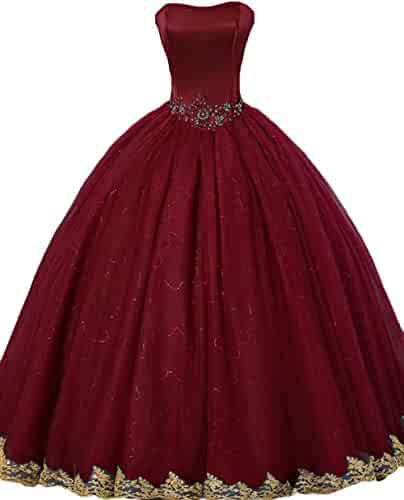 3a0116c8f90 Sweetheart Quinceanera Dress 2019 Tulle Beaded Strapless Prom Dress Wedding  Party Gowns with Gold Appliques