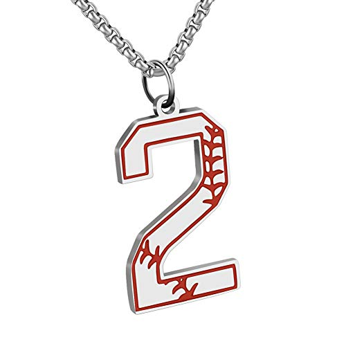 (abooxiu Baseball Initial Pendant Necklace Inspiration Baseball Jersey Number 0-9 Charms Stainless Steel Necklace (2 - Silver))