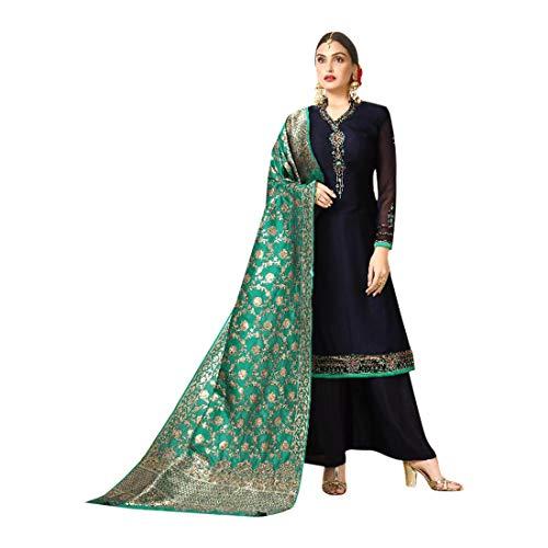 Navy Blue Festive Eid Designer Palazzo style Salwar Kameez Suit Banarasi Dupatta Muslim Custom made Party wear 7661 ()