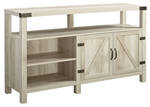 Home Accent Furnishings New 58 Inch Wide Barndoor Highboy Television Stand in White Oak Finish (Highboy Stand Tv White)