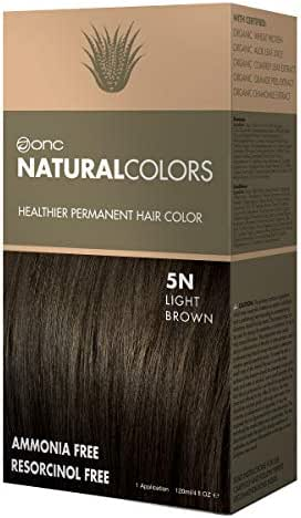 ONC NATURALCOLORS 5N Natural Light Brown Healthier Permanent Hair Color Dye 4 fl. oz. (120 mL) with Certified Organic Ingredients, Ammonia-free, Resorcinol-free, Paraben-free, Low pH, Salon Quality, E