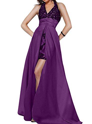 La Neckholder Ausschnitt Festlichkleider mit Schleppe Lila mia Ballkleider Brau Brautmutterkleider Spitze Partykleider Abendkleider V rXwrtAzq