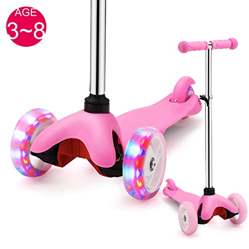 SAMTOYS Scooter for Kids - 3 Wheels Adjustable Kick Scooter with LED Light Up Jelly Wheels,for Girls Boys 3 to 8 Years Old (Pink)