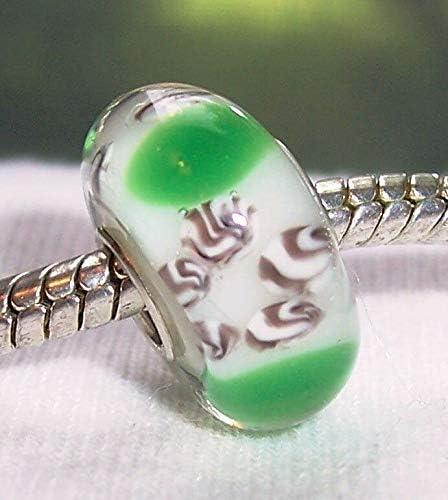 Green Brown Pattern Single Core Glass Bead for Silver European Charm Bracelets Fashion Jewelry for Women Man