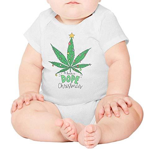 Marijuana Leaf Have a dope Christmas Newborn,Baby Onesies,Baby Onesie} White Romper Organic One-Piece Cotton Short Sleeve ()