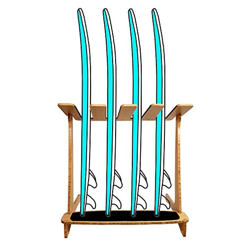 Grassracks Bamboo Freestanding Vertical Surf Rack for 4 Boards - Surfboards - Snowboards - Wakeboards
