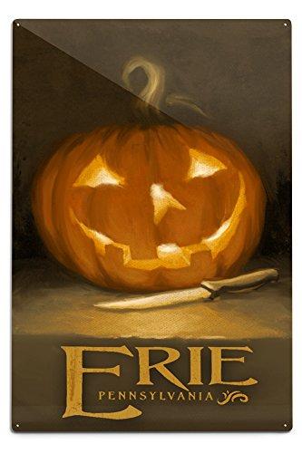 Erie, Pennsylvania - Jack-O-Lantern - Halloween Oil Painting (12x18 Aluminum Wall Sign, Wall Decor Ready to (Pennsylvania Halloween)