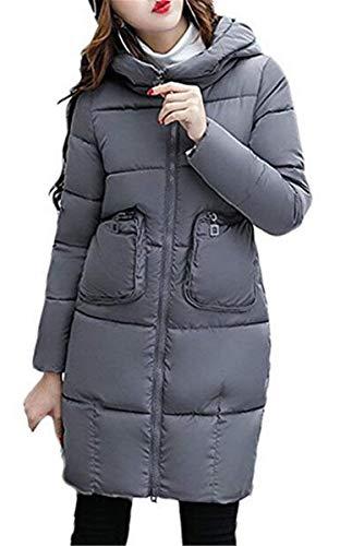 Manica Calda Con Cappuccio Comoda Tinta Giacca Tasche Lungo Autunno Grau Zipper Retro Donna Unita Trapuntato Casual Da Inverno Cappotto q7RxO7