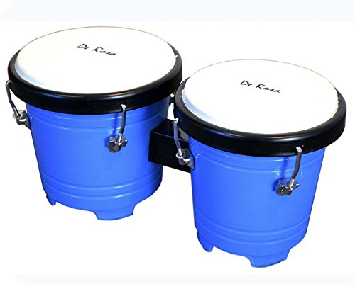 Mini Kids 5 inch Junior Plastic Bongos - Tunable Lap Bongo Drum (Blue)