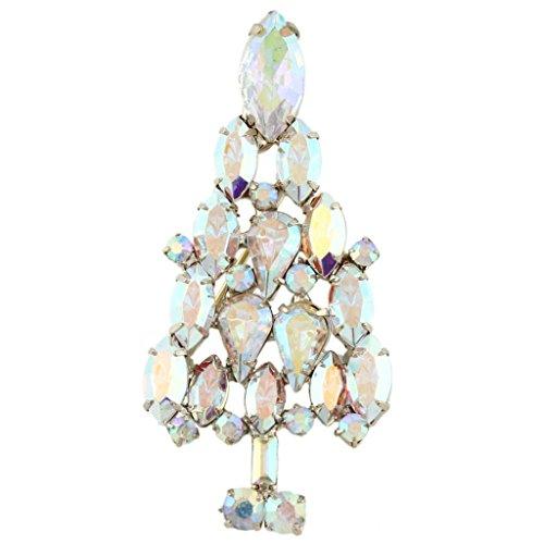 EVER FAITH® Arbre de Noël Elégant Hiver Vacances Cristal Autrichien Clair Broche Pin Ton Or
