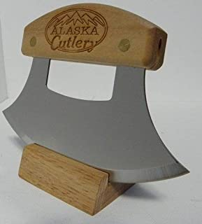 product image for Alaskan Inupiat Style Ulu with Alaska Cutlery Etched Birchwood Handle, 6.25 Inch Blade