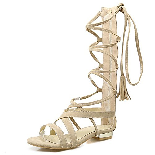 Aisun Womens Cutout Strappy Open Toe Fringed Wrap Self Tie Zip Up Flat Gladiator Under Knee High Boots Sandals Beige LORxOoDlm